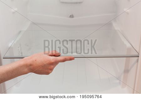 Installing new clean shelves in an empty washed refrigerator. Young woman cleaning refrigerator