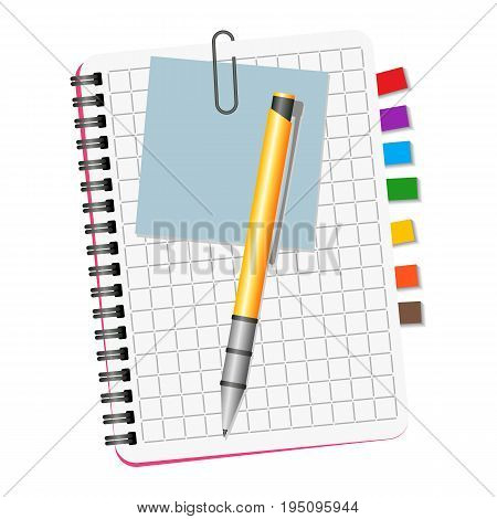 Notebook with colored bookmarks blue notice and yellow pen on a white background