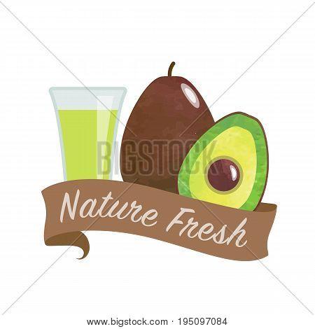 Colorful Watercolor Texture Vector Nature Organic Fresh Fruit Juice Banner Avacado