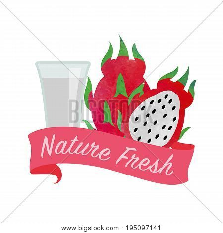 Colorful Watercolor Texture Vector Nature Organic Fresh Fruit Juice Banner Dragon Fruit Pitaya