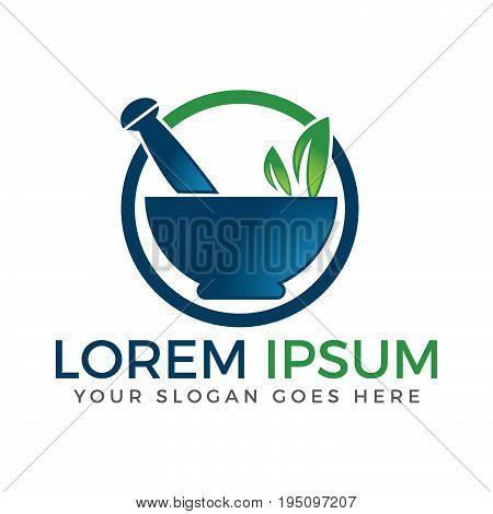 Pharmacy medical logo. Natural mortar and pestle logo.
