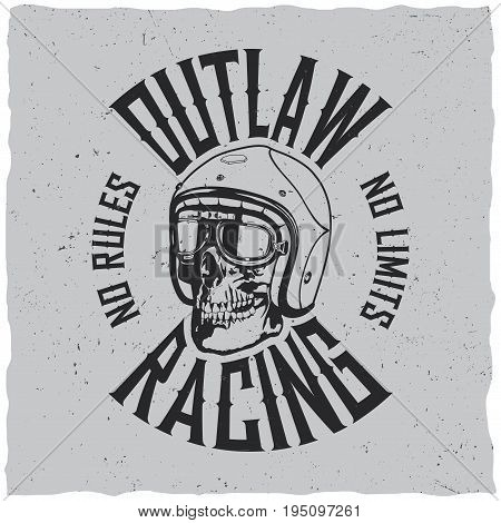 Outlaw Racing Poster with words no rules no limits for t-shirt design vector illustration