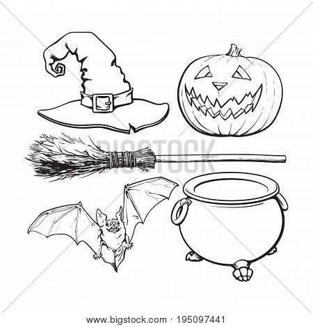 black and white witch accessories - pointed hat, caldron, jack o lantern, broom, bat, Halloween decoration elements, sketch vector illustration isolated on white background.