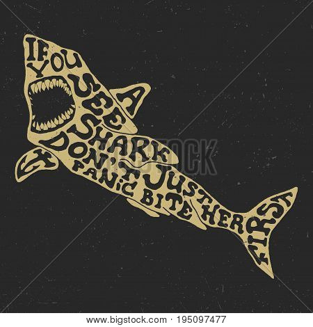 Creative Animal Poster with slogan If you see shark don't panic bite her first vector illustration