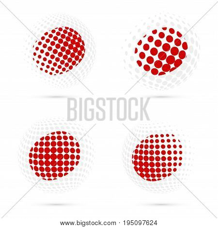 Japan Halftone Flag Set Patriotic Vector Design. 3D Halftone Sphere In Japan National Flag Colors Is