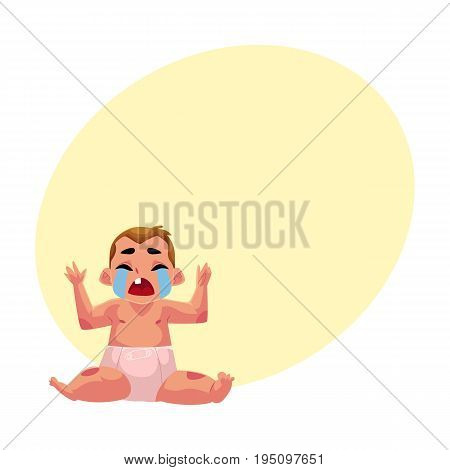 Front view portrait of cute little baby kid, infant, child in diaper sitting and crying hard, cartoon vector illustration with space for text. Crying little kid, baby, infant in diaper