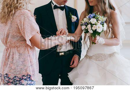 Little Girl Or Boy Carrying Wedding Ring On Cushion