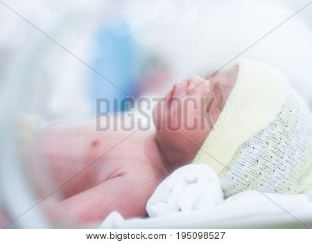 New born baby in hospiatal after delivery Mon and babies concept