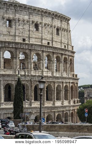 Close view of Colosseum on a sunny day. Rome Italy. June 2017