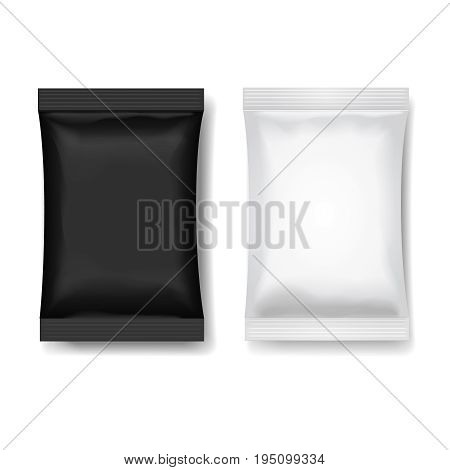 Snack package black white, Blank food packaging for Chocolate or wafer 3 d realistic vector illustration.
