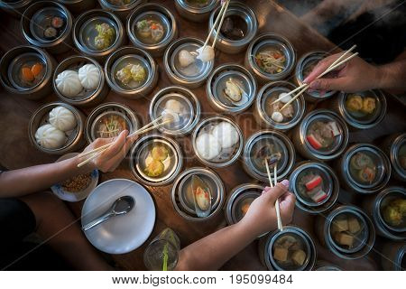 Dim sum breakfast food for chinese restaurant China family and asian food concept