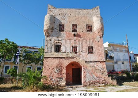 The historic Markellos Tower in Aegina Town on the Greek island of Aegina on April 26, 2017. The tower was once a seat of the Greek government during the War of Independence.