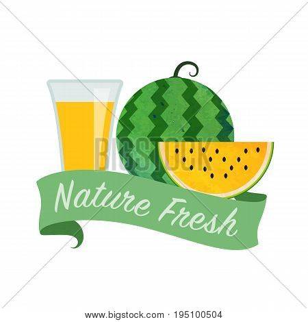 Colorful Watercolor Texture Vector Nature Organic Fresh Fruit Juice Banner Yellow Water Melon