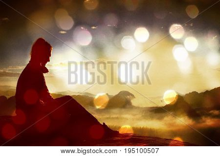 Film Grain. Beautiful  Young Woman Tourist Enjoy Daybreak On The Sharp Corner Of Sandstone Rock And