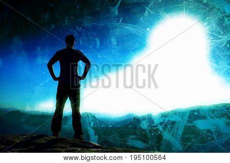 Film Grain. Self Confident Hiker On The Peak Of Sandstone Rock In Rock Empires Park And Watching Ove