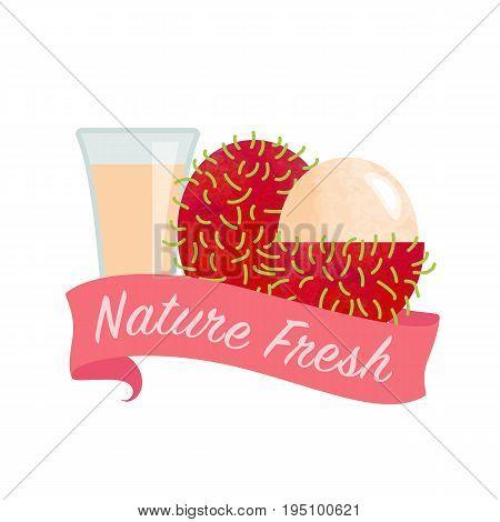 Colorful Watercolor Texture Vector Nature Organic Fresh Fruit Juice Banner Rambutan