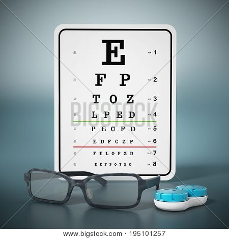 Eye test chart eyeglasses and contact lens box. 3D illustration.