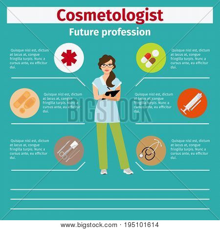 Future profession cosmetologist infographic for students, vector illustration poster