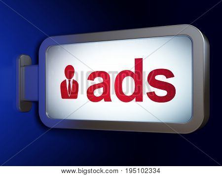 Marketing concept: Ads and Business Man on advertising billboard background, 3D rendering
