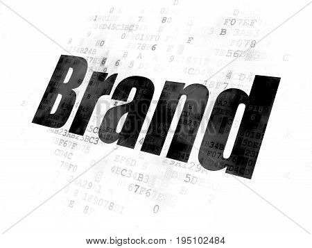 Advertising concept: Pixelated black text Brand on Digital background