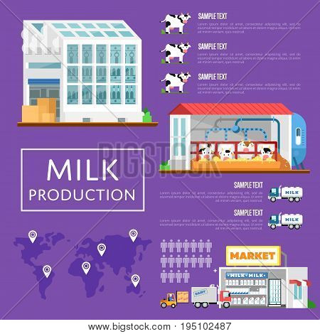 Modern and ecology milk production infographics. Cow farm, transportation and processing on milk factory, fresh and healthy dairy product distribution in retail. Milk manufacturing vector illustration