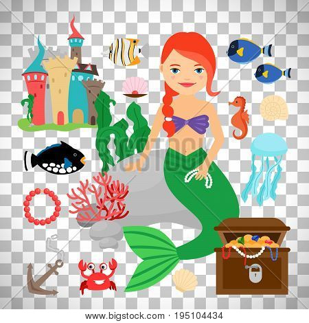 Mermaid vector illustration. Cute mermaid with marine life isolated on transparent background