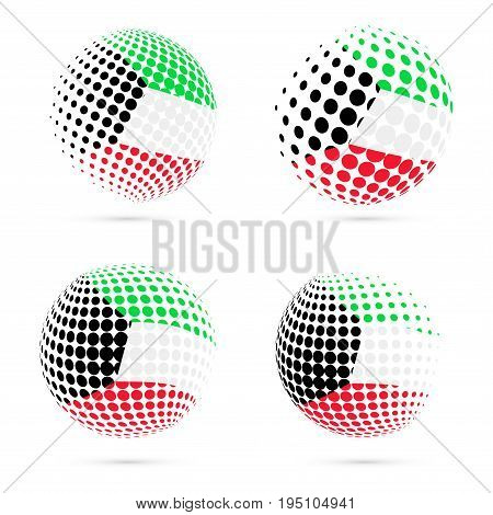 Kuwait Halftone Flag Set Patriotic Vector Design. 3D Halftone Sphere In Kuwait National Flag Colors