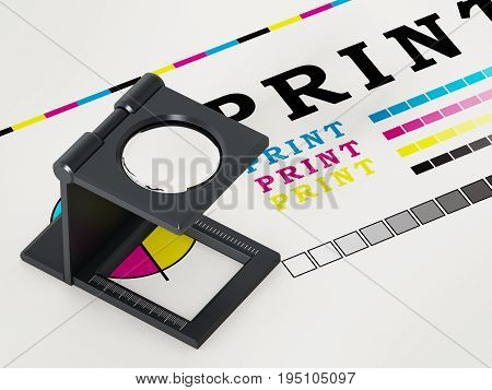 Printing loupe standing on colour test paper. 3D illustration.