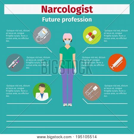 Future profession narcologist infographic for students, vector illustration