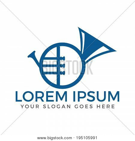French Horn vector logo. Musical Instrument sign and symbol.