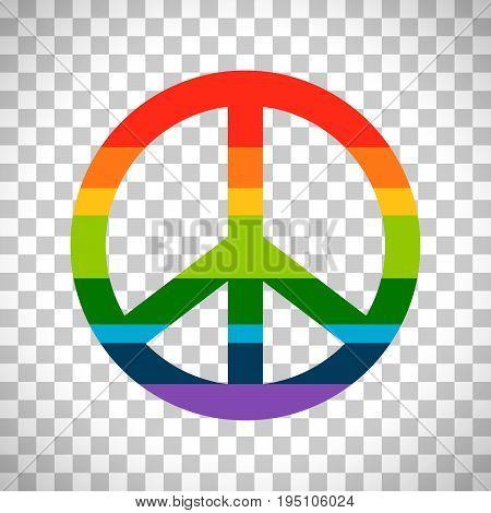 Brightness rainbow peace symbol vector isolated on transparent background