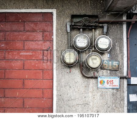 Old Electric Meters On The Wall