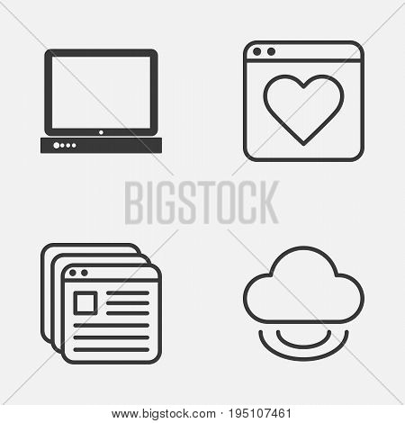 Web Icons Set. Collection Of Virtual Storage, PC, Followed Website And Other Elements. Also Includes Symbols Such As Page, Browser, Storage.