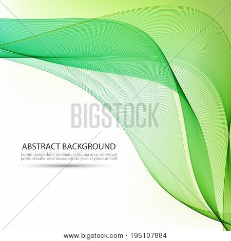 Green wave background.Transparent, wavy lines in the form of abstract waves.