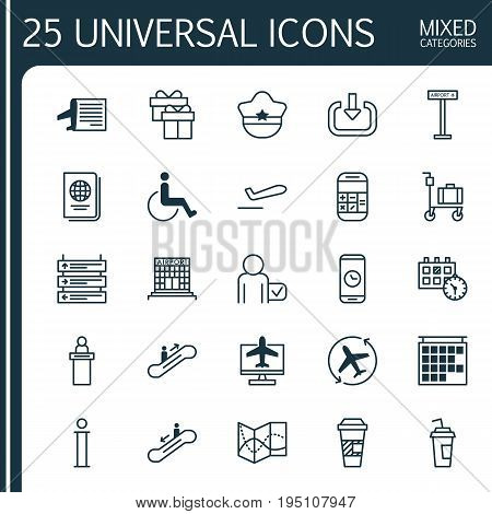 Transportation Icons Set. Collection Of Moving Staircase, Airfield Manufacture, Drink Cup And Other Elements. Also Includes Symbols Such As Reception, Moving, Online.