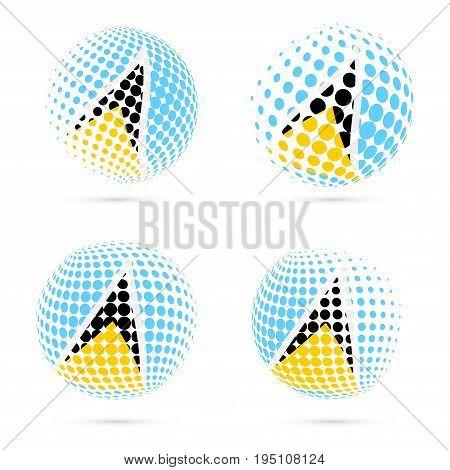 Saint Lucia Halftone Flag Set Patriotic Vector Design. 3D Halftone Sphere In Saint Lucia National Fl