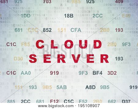 Cloud technology concept: Painted red text Cloud Server on Digital Data Paper background with Hexadecimal Code