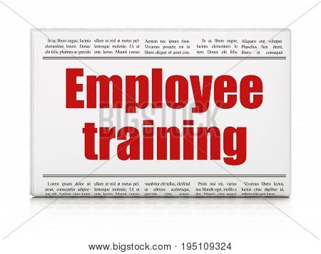 Learning concept: newspaper headline Employee Training on White background, 3D rendering