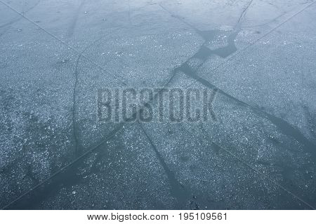 The water getting frost with an Ice sheet floating on in the winter season of Norway.