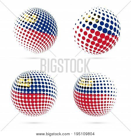 Liechtenstein Halftone Flag Set Patriotic Vector Design. 3D Halftone Sphere In Liechtenstein Nationa