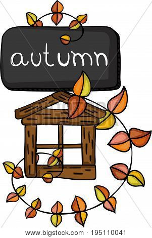 Scalable vectorial image representing a autumn fall with leaves and little wood house, isolated on white.