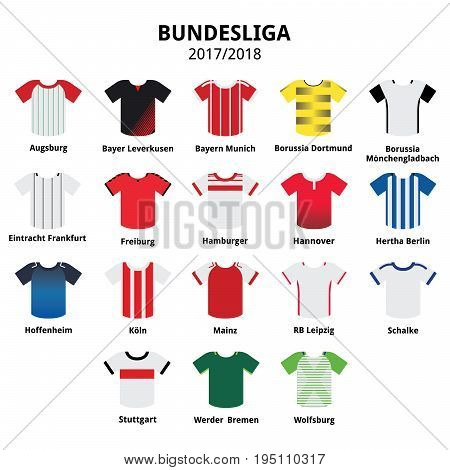 Bundesliga jerseys 2017 - 2018 , German football league icons