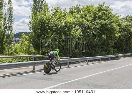 Bourgoin-Jallieu France - 07 May 2017: The Dutch cyclist Sebastian Langeveld of Cannondale-Drapac Team riding during the time trial stage 4 of Criterium du Dauphine 2017.