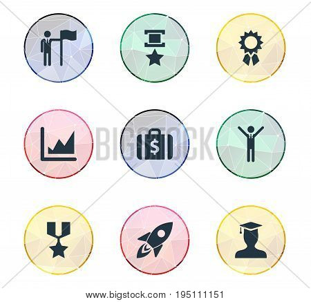 Vector Illustration Set Of Simple Success Icons. Elements Hero, Space, Victory And Other Synonyms Successfull, Graduation And Master.