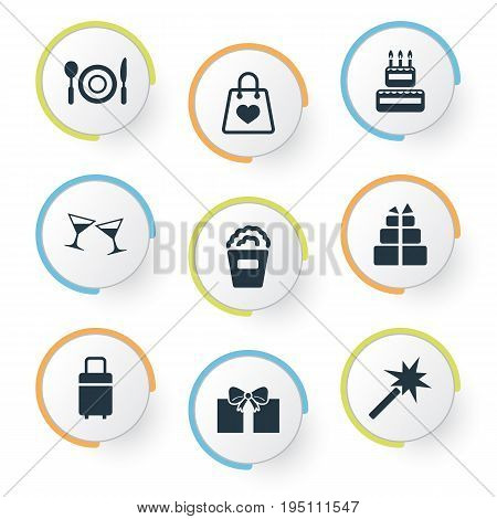 Vector Illustration Set Of Simple Holiday Icons. Elements Present, Gift, Cake And Other Synonyms Sale, Supper And Cake.