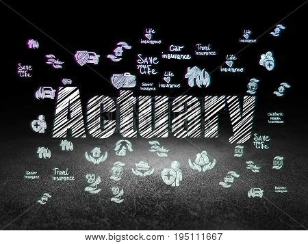 Insurance concept: Glowing text Actuary,  Hand Drawn Insurance Icons in grunge dark room with Dirty Floor, black background