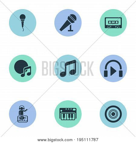 Vector Illustration Set Of Simple  Icons. Elements Melody, Compact Disk, Album And Other Synonyms Cassette, Enhancer And Instrument.