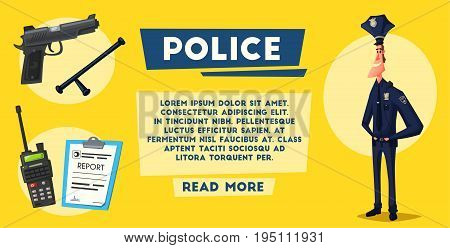 Policeman character. Cartoon vector illustration. Funny cop. Justice and safety