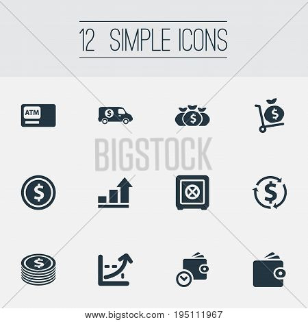 Vector Illustration Set Of Simple Money Icons. Elements Growth, Secure Box, Purse And Other Synonyms Secure, Box And Interest.