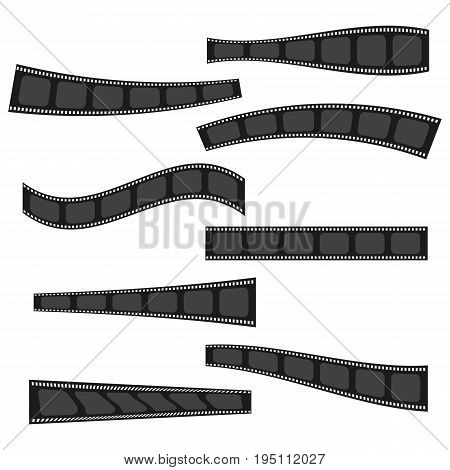 Monochrome flat vector cinema video tapes frames and ribbons collection. Film and photo strip border backgrounds for text banners design. Cinematography elements